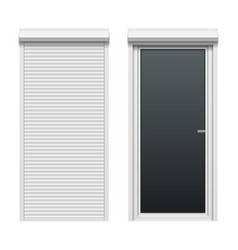 door with rolling shutters close and open vector image vector image