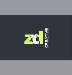 green letter zd z d combination logo icon company vector image