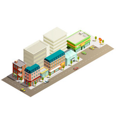 Isometric store buildings concept vector