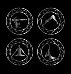 Yoga or gymnast silhouette in geometric design vector image vector image