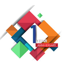 1 year anniversary design colorful square style vector