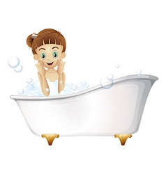 A beautiful girl taking a bath vector image