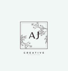 Aj beauty initial logo art handwriting logo vector
