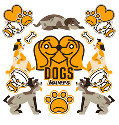 and logo on the topic of dogs vector image