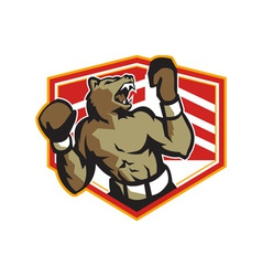 Angry Bear Boxer Boxing Retro vector