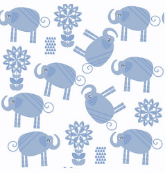animals elephants seamless pattern it is located vector image