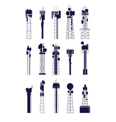 antenna tower silhouettes isolated communications vector image