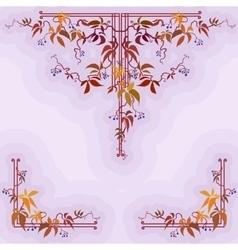 Autumn wild grape in violet background vector image