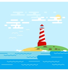Background with lighthouse sea waves in a daytime vector