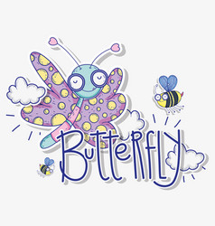 beauty butterfly and bees insects animals with vector image
