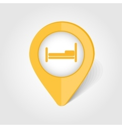 Bed map pin icon vector image