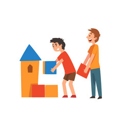 boys playing with toy blocks vector image