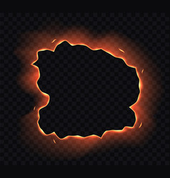Burning paper hole edge frame with fire sparks vector