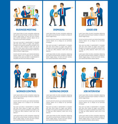 business company boss and employees office work vector image