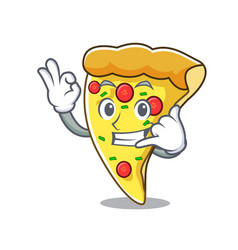 Call me pizza slice mascot cartoon vector
