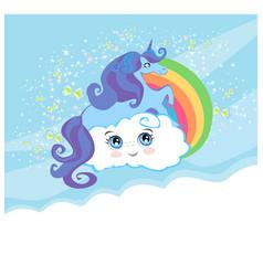 Card with a cute unicorn rainbow vector