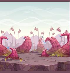 cartoon fantasy landscape with unusual plants vector image