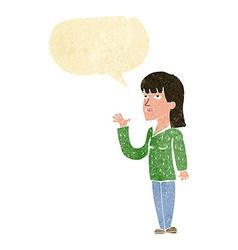 Cartoon woman explaining with speech bubble vector
