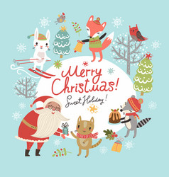 Christmas card with santa and animals vector