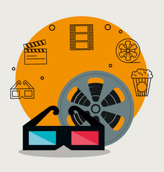Cinema industry set icons vector