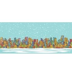 City skyline panorama winter snowing hand drawn vector image
