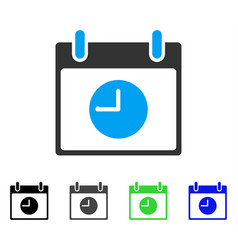 Clock calendar day flat icon vector