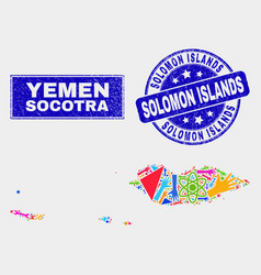 Collage tools socotra archipelago map and distress vector