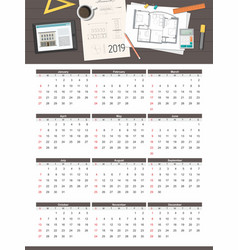 construction project house plan calendar 2019 vector image