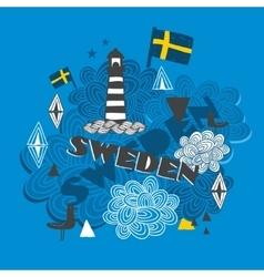 Cool emblem with swedish symbols vector