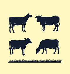 cow silhouette icon black angus vector image
