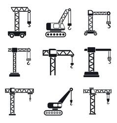 Crane construction icons set simple style vector