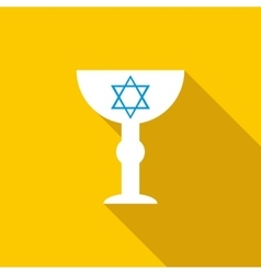 Cup with Star of David icon flat style vector