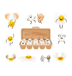 cute egg faces vector image
