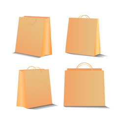 eco shopping paper bag set 3d realistic vector image
