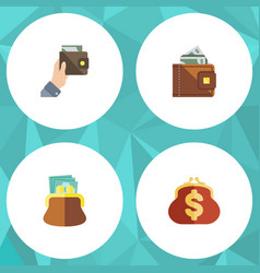 flat icon purse set of finance saving purse and vector image