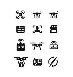 Flying drone icons vector