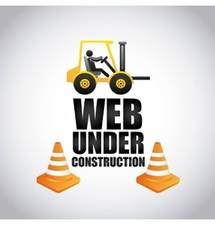 Forklift and cone icon Work in Progress design vector