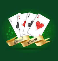 four aces playing cards spades hearts diamonds vector image