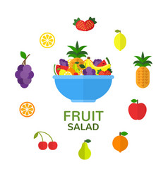 fruit bowl natural food concept fruit salad in vector image