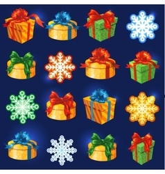 gift box set with bows Snowflakes and vector image