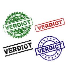 Grunge textured verdict stamp seals vector