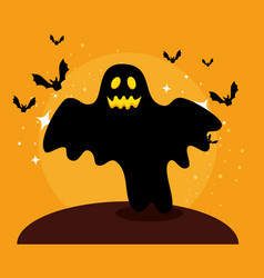 Halloween card with ghost and bats flying vector