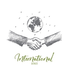 Hand drawn business handshake globe at background vector