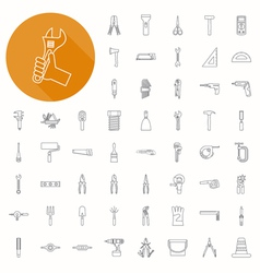 Hand tools icons thin icon design vector