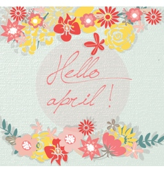 Hello Spring April card vector