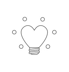 Icon concept of heart shaped glowing light bulb vector