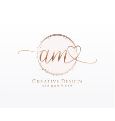 Initial am handwriting logo with circle template vector