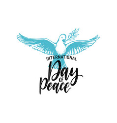 international day peace hand lettering vector image