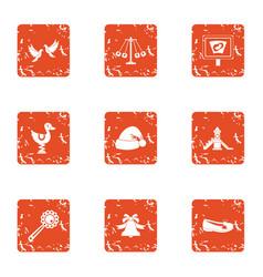 Kindergarten playground icons set grunge style vector