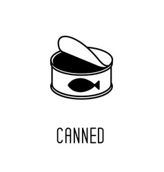 Line art black and white canned fish vector